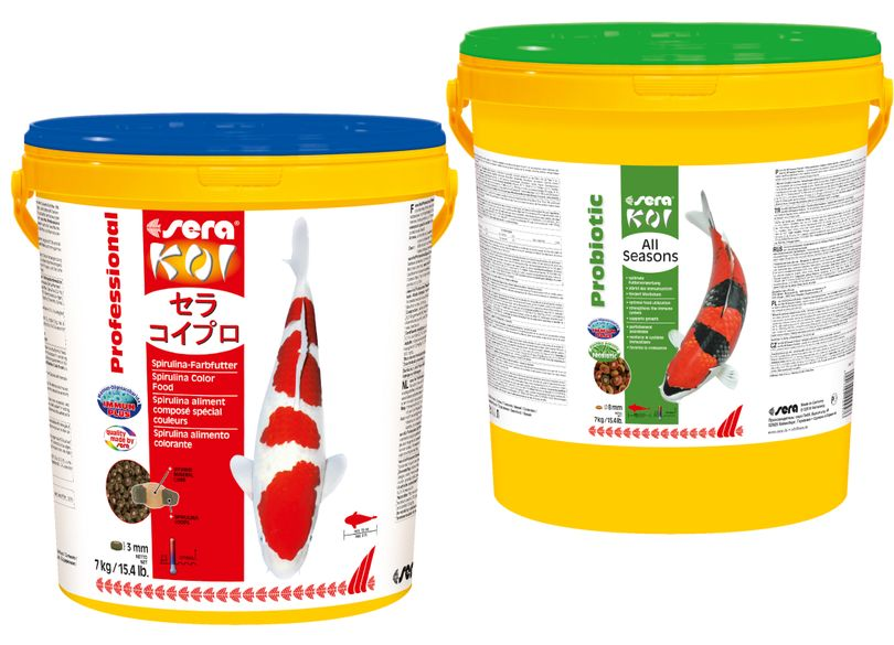 Futter Set Sera Prof. Koi Spirulina 7 Kg + sera Koi All Seasons Probiotic 7 kg