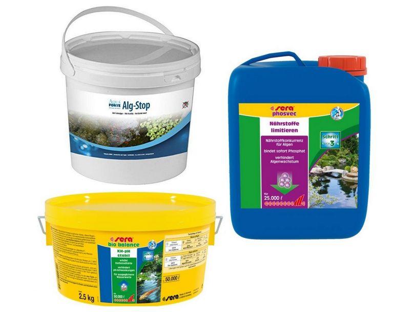 Anti Fadenalgen Set 1 sera pond bio balance 2,5 kg alg-stop 2,5 kg phosvec 2,5 L