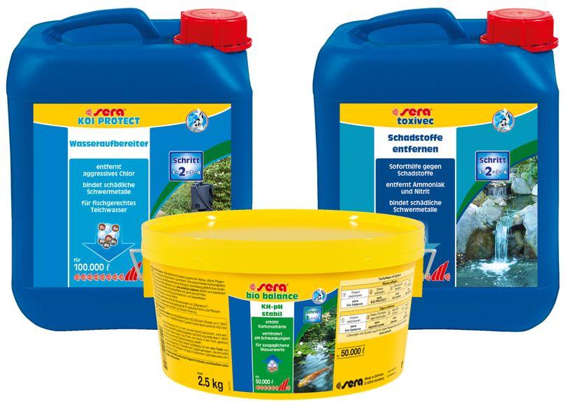 Teich Stabilisierung Set 2 sera bio balance 2,5Kg, Koi Protect 5Kg, Toxivec 5Kg