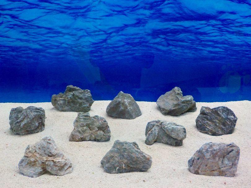 "Aquarium graue Dekosteine Seiryu Art.67 ""original Foto"" Größe M 12-18cm Nr.8213"