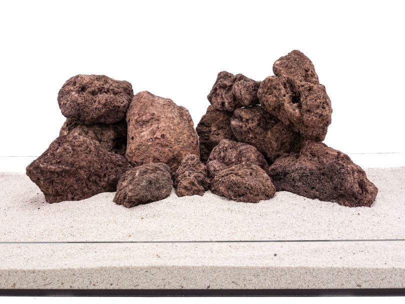 Aquarium Natursteine Lavastein rot 20 Kg Mix Größe M bis L