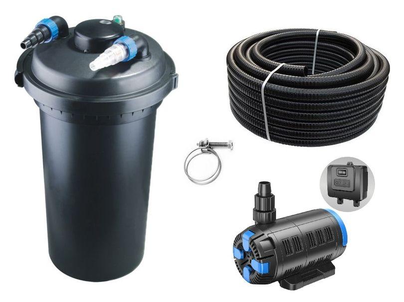 Druckteichfilter Set CPF 500 regelbare Eco Pumpe 10m Schlauch bis 30.000l Nr.52