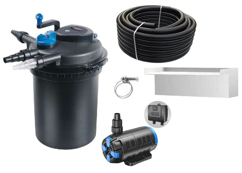 Druckteichfilter Set CPF 10000 regelbare Eco Pumpe 10m Schlauch bis 12.000l Nr.53w