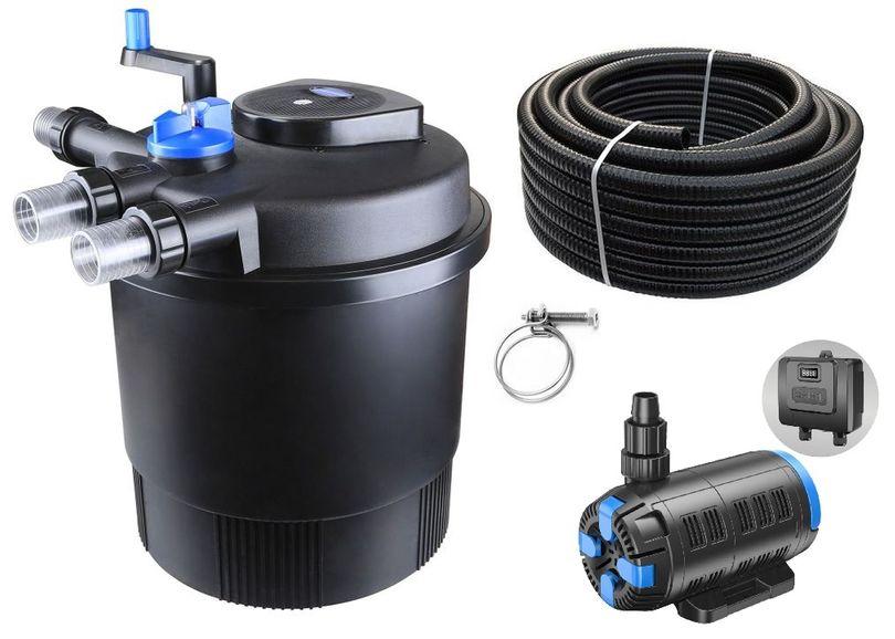 Druckteichfilter Set CPF 20000 regelbare Eco Pumpe 10m Schlauch bis 40.000l Nr.55