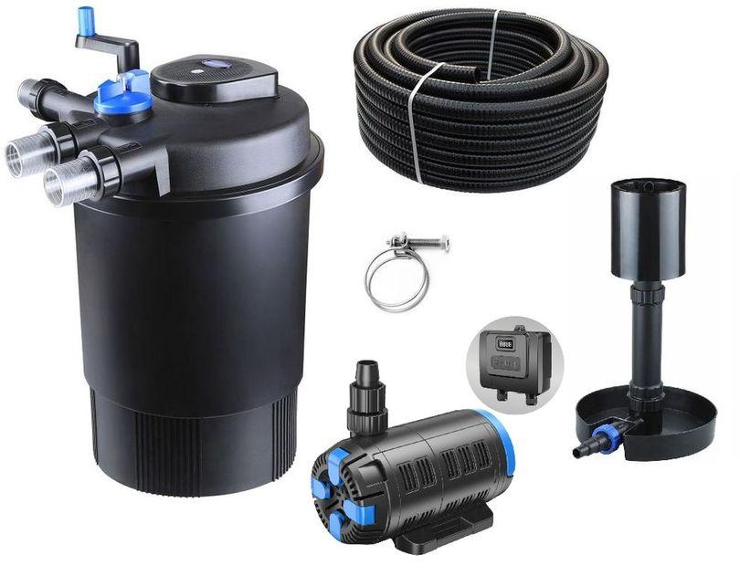 Druckteichfilter Set CPF 30000 regelbare Eco Pumpe 10m Schlauch bis 60.000l Nr.56s