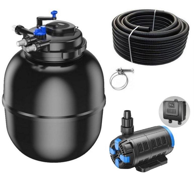 Druckteichfilter Set CPF 75000 regelbare Eco Pumpe 10m Schlauch bis 100.000l Nr.58