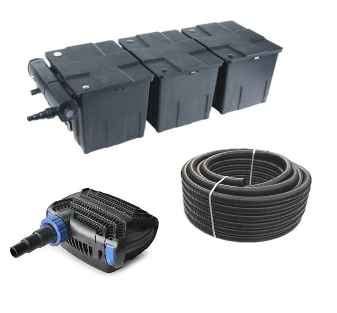 Teichfilter Set 90.000l CBF350C +CTF-B 7000 Teichpumpe +UVC Klärer +10m Schlauch Bild 1