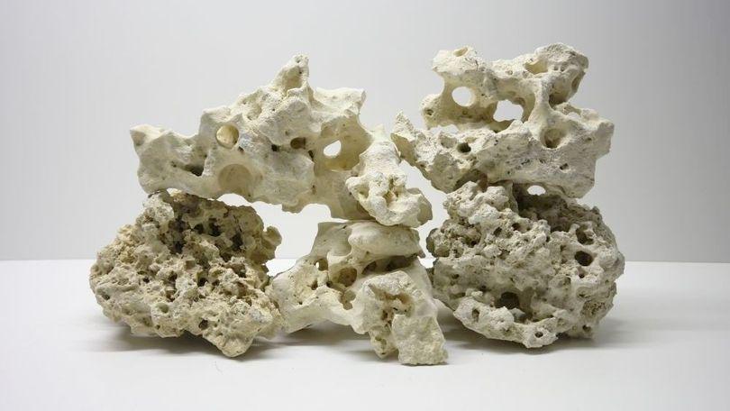 25 Kg Premium weißes asiatisches Lochgestein Größe XL 4-6 Stück 15-40cm Aquarium