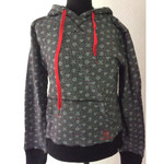 Girlie - Hoodie - Converse - grey with hearts 001