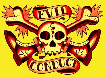 Girlie Shirt- Evil Conduct- Skull & Bones- gelb