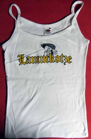 Girlie Trägershirt- Lammkotze- Logo- weiß
