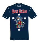 T-Shirt - Rose Tattoo - blau