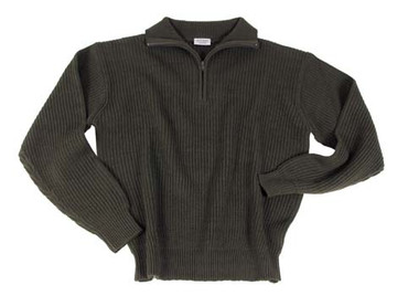 Knitted Pullover - Troyer - olive