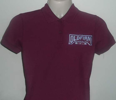 The Old Firm Casuals Burgundy Ladies Polo