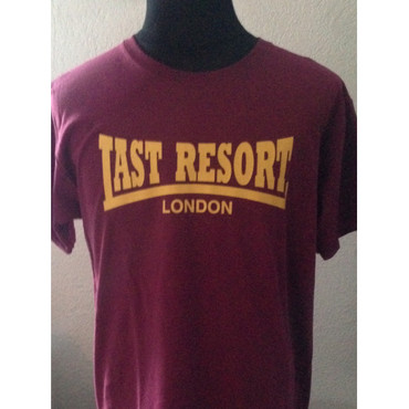 T-Shirt - The Last Resort - Logoschriftzug - bordo