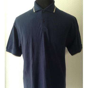 Poloshirt - Fruit of the Loom - blau/ beige