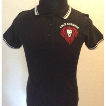 Lady Version - Poloshirt - Cock Sparrer - Lion - black