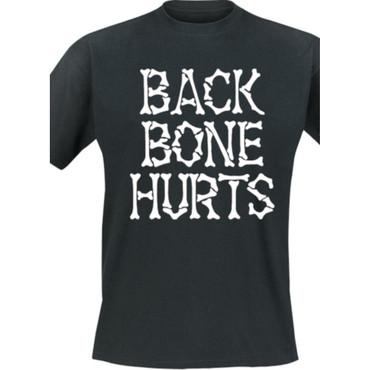 T-Shirt - Backbone Hurts - Knochenlogo - schwarz