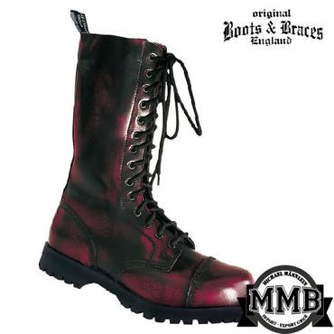 Stiefel - Boots & Braces - 14 Loch - bordo
