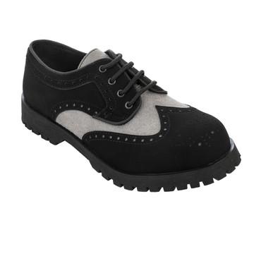 Halbschuh - Boots & Braces - Budapester - schwarz/ weiß