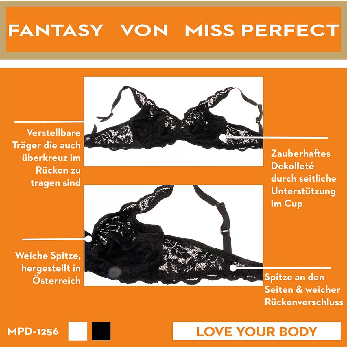 Miss Perfect Dessous Fantasy Soft BH ohne Bügel mit Spitze in Schwarz oder Weiß