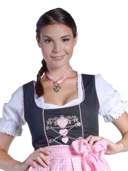 Midi-Dirndl Sara Schwarz/Rosa/Weiss mit Herzen – Bild 1