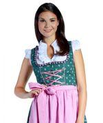 Mini-Dirndl Stella Grün/Pink inklusive Bluse und Schürze Gr. 32-46