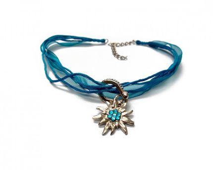 Dirndlkette Edelweiss - Türkis blau