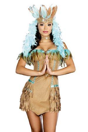 Damen Kostüm Indianerin Braun/Türkis mit Federn