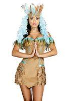 Damen Kostüm Indianerin Braun/Türkis mit Federn 001
