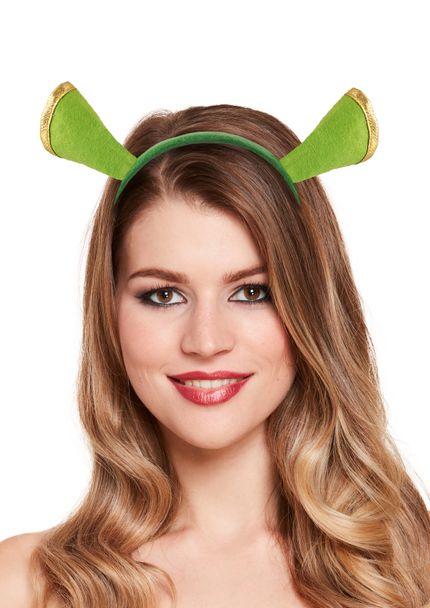 Kopfschmuck Haarreif mit Ohren Grün Oger Kostüm-Zubehör