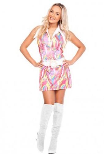 Sexy Hippie-Kostüm WOODSTOCK Retro-Kleid - ROSA
