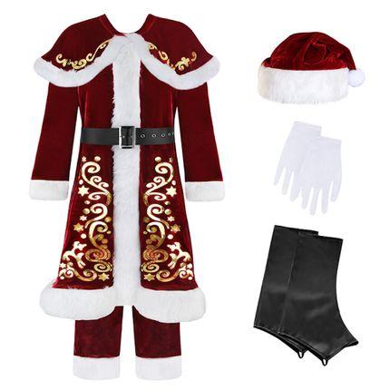 9 tlg. Deluxe Herren-Kostüm Santa Claus mit Ornamenten – Bild 3