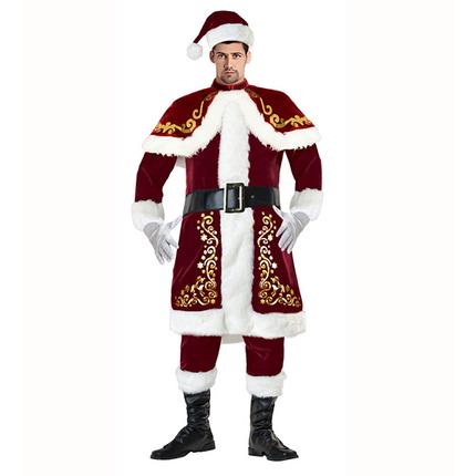 9 tlg. Deluxe Herren-Kostüm Santa Claus mit Ornamenten – Bild 1