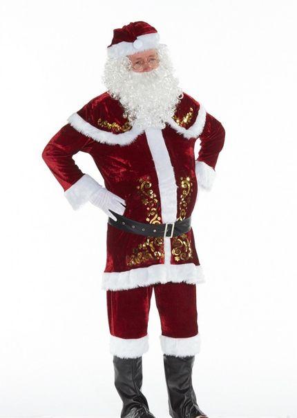9 tlg. Deluxe Herren-Kostüm Santa Claus mit Ornamenten – Bild 8