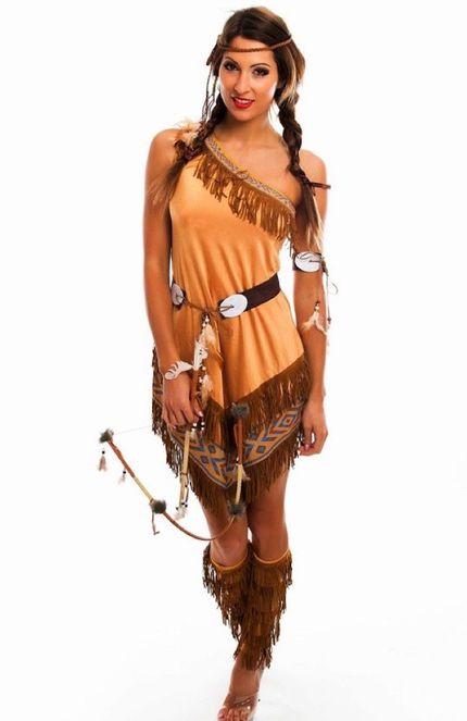 Damen Kostüm Indianerin asymmetrisch mit Fransen