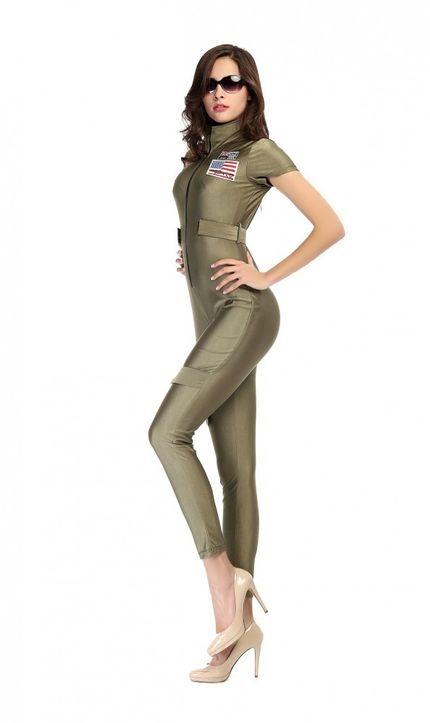 Damen-Kostüm Jetpilotin Catsuit inkl. Brille