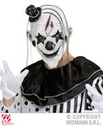 Killer Clown Maske mit Haaren und Hut - Pierrot 001