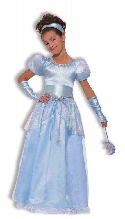 Deluxe Silver Blue Princess Mädchen-Kostüm