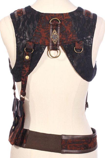 Steampunk Bolero mit Gürtel und Tasche – Bild 2