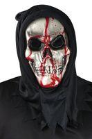 Blutende Totenkopf Maske mit Pumpe Halloween blutig Horror Skull Tod  001