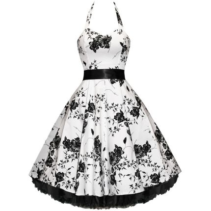 50er Jahre Rockabilly Kleid Vintage Blumen - Flower White (ohne) – Bild 1