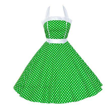 50er Jahre Rockabilly Kleid Kathy Grün/Weiß
