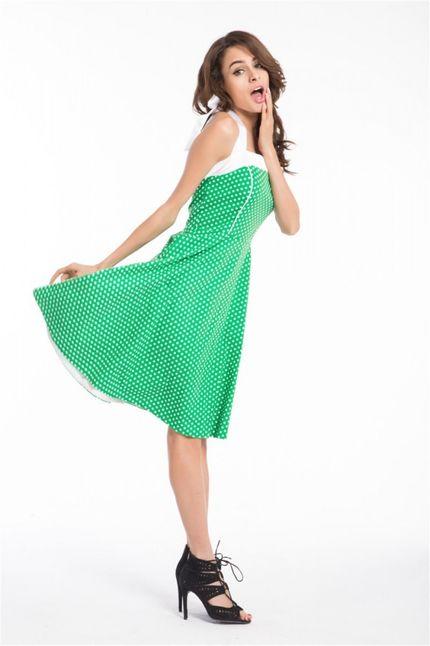 50er Jahre Rockabilly Kleid Kathy Grün/Weiß – Bild 2
