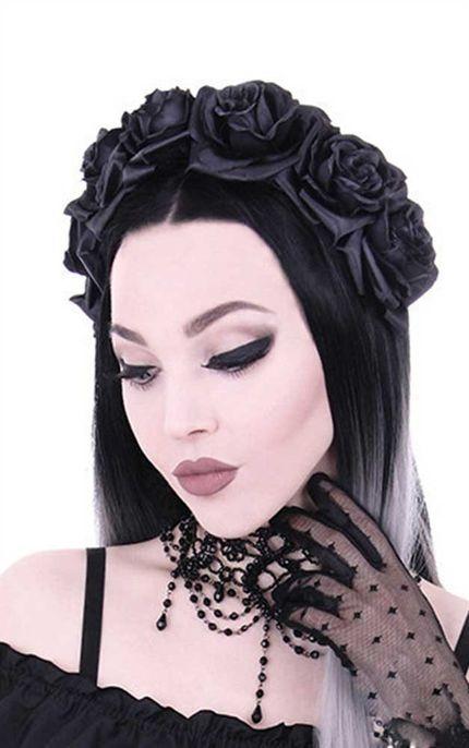 Gothic Kopfschmuck mit schwarzen Rosen