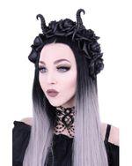 Gothic Maleficent Kopfschmuck - schwarze Rosen und Hörner 001