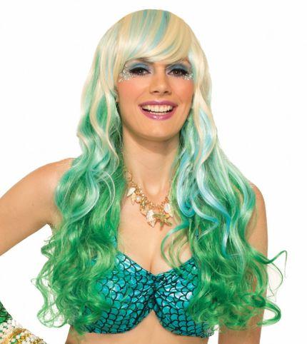 Langhaar Perücke für Meerjungfrau Kostüm - Blond mit grün-blauen Strähnen