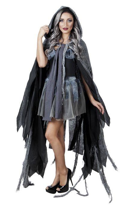Schwarz-grauer Vampir-Umhang mit Kapuze für Erwachsene