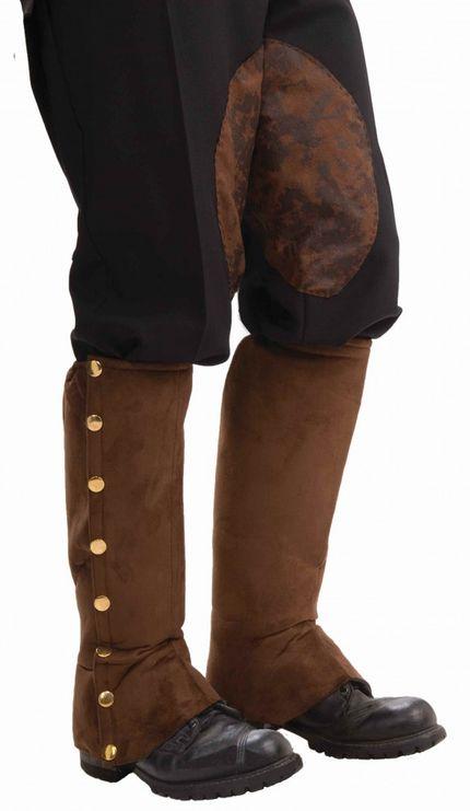 Stiefelstulpen mit goldenen Knöpfen in Wildleder-Optik für Piraten, Steampunk etc. – Bild 2