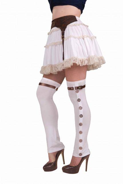 Ausgefallene halterlose Strümpfe weiß mit Zahnrädern für Damen Steampunk-Kostüm – Bild 1